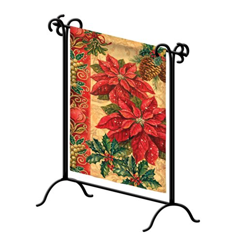 Evergreen Flag Black Iron Patio Swirl Garden Flag Stand - 18