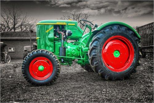 Leinwandbild 60 x 40 cm  Deutz Traktor Oldtimer von Peter Roder - fertiges Wandbild, Bild auf Keilrahmen, Fertigbild auf echter Leinwand, Leinwanddruck