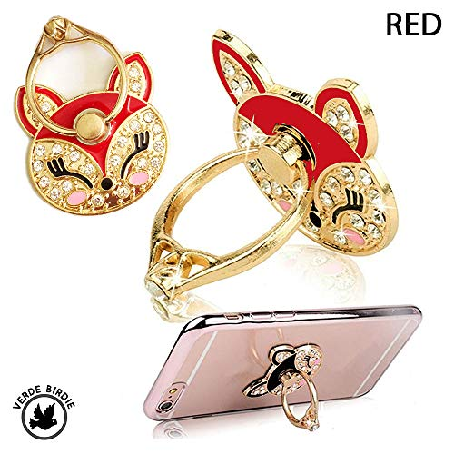 Universal Phone Finger Ring and Stand Holder Cat Face Crystal Bling Diamond Rhinestone Glitter Sparkle with 360 Degree Rotating Portable Kickstand Grip for Any Phone Tablet [1 Piece] (Red) ()