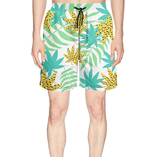 LKIMNJ Men Print Swim Trunks Colorful Banana Leaves Tropical Quick Dry Breathable Pockets Mesh Lining
