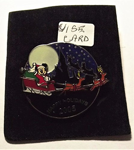 Disney Visa Cardholder Exclusive, Happy Holidays 2005, Mickey as Santa in Sleigh, LE, Pin Pic # 42712 Glow in the Dark Moon (Sleigh Mickey)