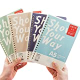 JUNDA Loose Leaf Papers,A5 Size 20 Holes Lin Refill Papers,100 Sheets/Set,2 Sets,Color Random