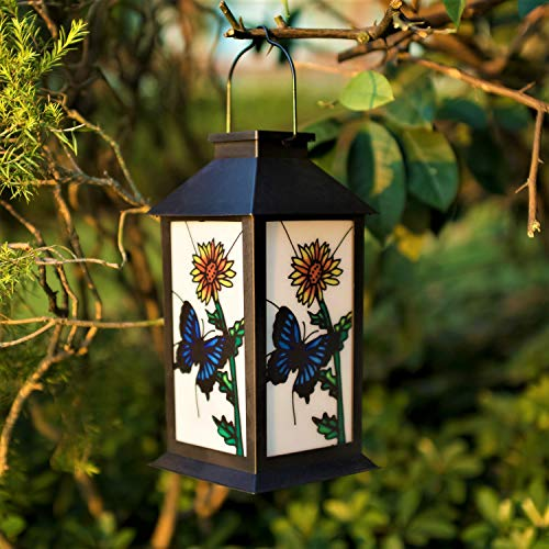- ExcMark Outdoor Solar Hanging Lantern Lights LED Decorative Lamp for Garden Patio Courtyard Lawn and Table (Butterfly)
