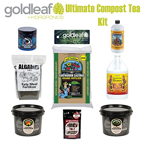 Goldleaf Hydro Ultimate Compost Tea Kit w/ Great White, Kelp, Guano, Worm Castings, Fish Fertilizer and more Sunleaves Indonesian Bat