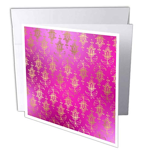 3dRose Anne Marie Baugh - Patterns - Pretty Pink and Image of Gold Art Nouveau Floral Pattern - 12 Greeting Cards with envelopes (gc_307938_2)
