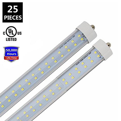 White Fluorescent Replacement Bulb (JESLED T8/T10/T12 8FT LED Tube Light, Single Pin FA8 Base, 72W 7200LM, 6000K Cool White, 96