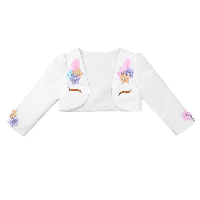 Agoky Bolero de Boda Fiesta Princesa Danza Chaqueta Blanca de Vestido Cardigan Elegantes Abrigo Unicornio Otoño para Bebé Niña (12 meses-10 años): ...