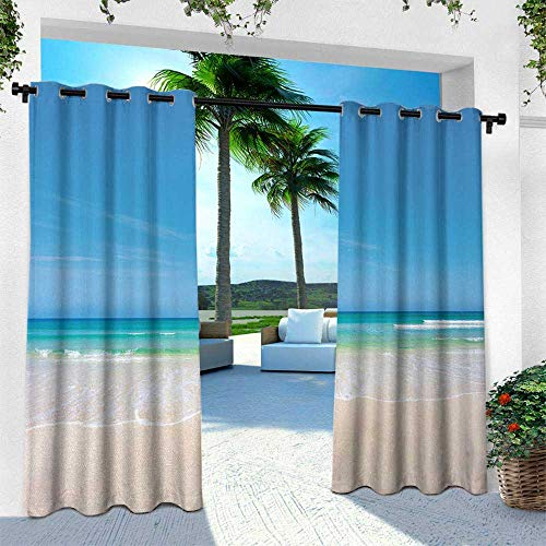 leinuoyi Ocean, Outdoor- Free Standing Outdoor Privacy Curtain, Golden Sandy Paradise Beach Sea and Sunny Sky Scene Secret Dream Space Nature Image, W120 x L108 Inch, Cream Blue