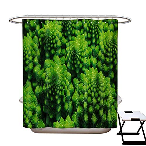 BlountDecor Nature Shower Curtains Digital Printing Broccoli Kale Mother Earth Herbs Themed Fractal Background Foliage Modern Design Satin Fabric Bathroom Washable W72 x L72 Lime Green from BlountDecor