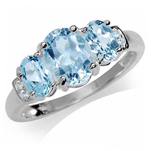 2.72ct. 3-Stone Genuine Blue & White Topaz 925 Sterling Silver Ring Size 10 (Blue Topaz Ring Size 10)