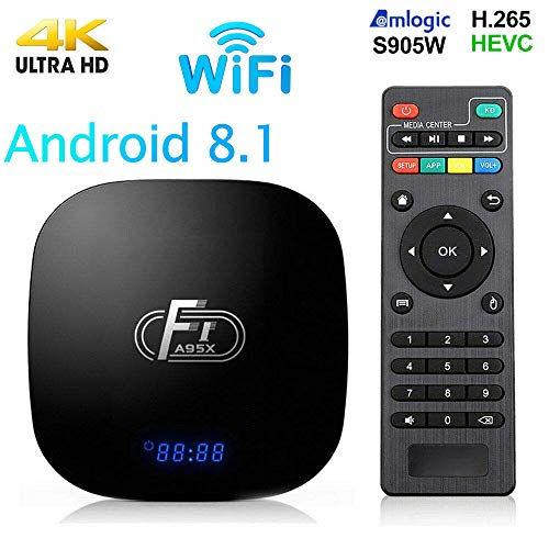 Android 8.1 TV Box,Smart Android Box 2+16GB ROM Amlogic S905W Media Player,Support 2.4GHz WiFi 3D/1080P/4K Android Box with Remote Control (Best Audio Player For Android)