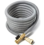 50 ft Expandable Garden Hose 5 piece BUNDLE. Strongest New 2017 TRIPLE Core Expanding Latex Technology, Brass Connectors. Includes Wall Mount, 7 pattern spray nozzle, storage bag, and 2-way Splitter.