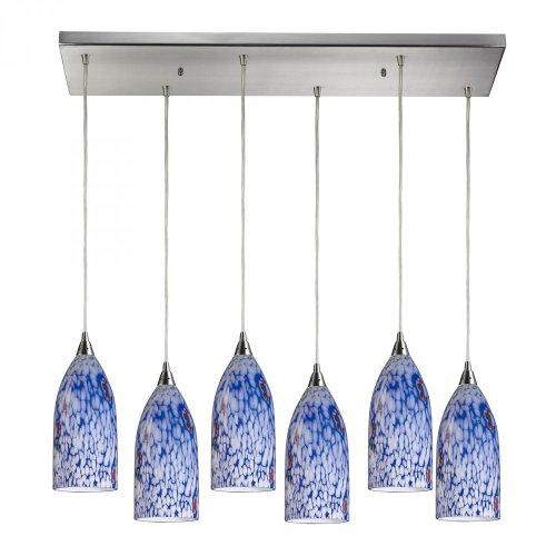 Elk 502-6RC-BL Verona 6-Light Pendant with Starburst Blue Glass Shade, 30 by 9-Inch, Satin Nickel Finish