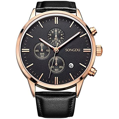 SONGDU Date Black Multifunction Chronograph Mens Watches Stopwatch Rose Gold With Leather Strap (black (Watch With Date)