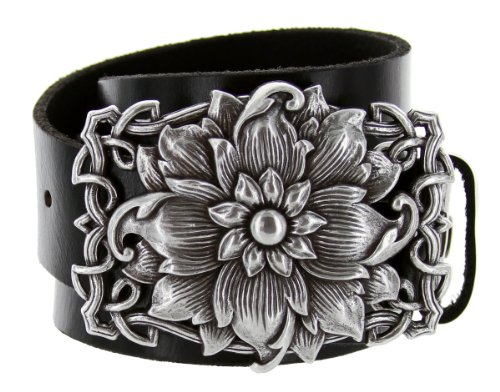 Changeable Buckle (Celtic Flower Made in Italy Belt Buckle Casual Jean Leather Belt (36,)