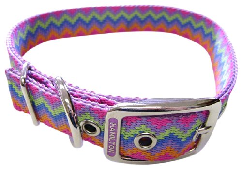 Hamilton Double Thick Nylon Deluxe Dog Collar, 1-Inch by 26-Inch, Weave Multi-Pattern, Lavender