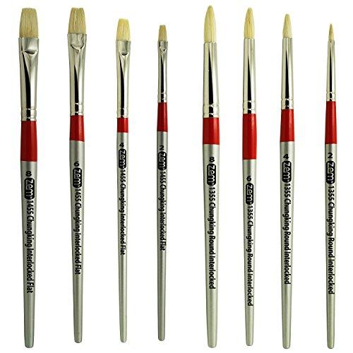 - ZEM Brush Chungking White Hog Bristle Interlocked Rounds and Flats 8 Pc Brush Set + Free Canvas Carry Case