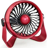 Personal Desktop Fan, Aromatherapy Essential Oil Fan to Blow Fragrant Wind, Portable Mini Personal Fan with 4 Speeds Desk Fan Powered by USB or Rechargeable Battery for Home Office Travel (Red)