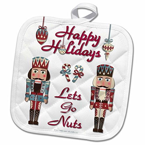 3dRose Lee Hiller Designs Holidays Christmas - Christmas Happy Holidays Nutcracker Lets Go Nuts - 8x8 Potholder (phl_107269_1) by 3dRose