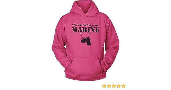Marine USMC Girlfriend Hoodie My Heart Belongs to a Marine RED USMC Wife USMC Hoodie I Love a Marine