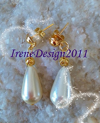 Gold Stud Earrings with White Pearl Drop