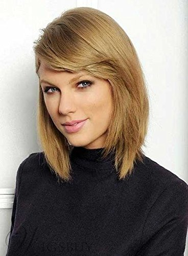 FidgetFidget Taylor Swift Style Mid-Length Straight LOB Synthetic Womens Wig 12 Inches ()