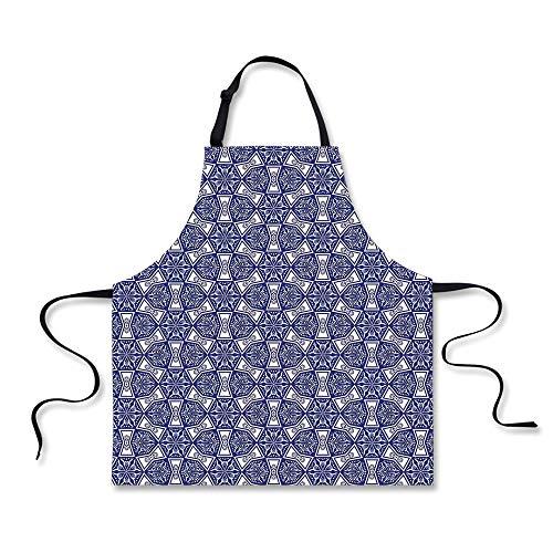 iPrint BBQ Apron,Indigo,Ethnic Oriental Design with Flower Leaves Rectangular Shaped Image,White Dark Blue and Sky Blue, Apron.29.5