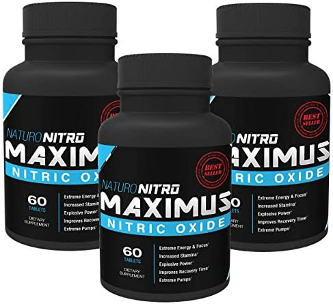 Maximus Nitric Oxide Tablets High Potency NO Booster and L-arginine Supplement – Allows You to Build Muscle Faster, Workout and Train Longer and Harder 60 Tablets, Pack of 3-180c