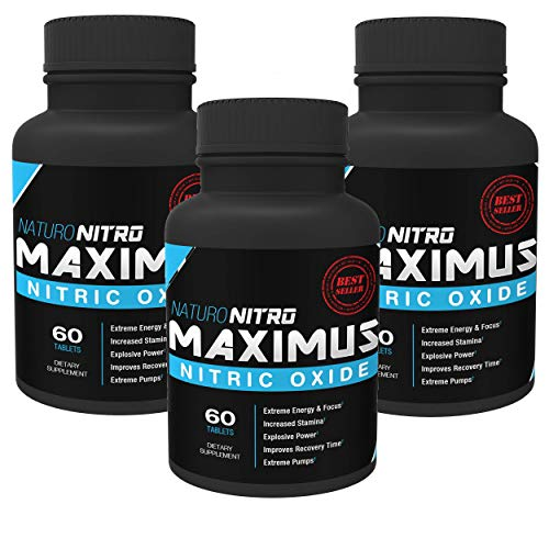 Maximus Nitric Oxide Tablets — High Potency NO Booster and L-arginine Supplement – Allows You to Build Muscle Faster, Workout and Train Longer and Harder — 60 Tablets, Pack of 3-180c