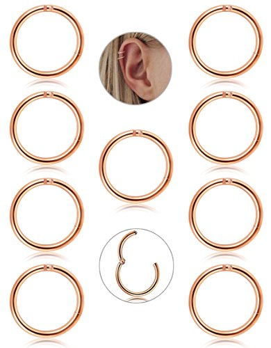 FIBO STEEL 9 Pcs Stainless Steel 16g Cartilage Hoop Earrings for Men Women Nose Hoop Ring Helix Septum Conch Daith Lip Tragus Piercing Jewelry (C1:Rose Gold 8MM)