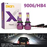 9006 HB4 LED Headlight Bulbs 16000lm for High Beam/Low Beam/Fog Light Bright White 6000K 4 Side COB Chips Car Headlamp Replacement(Pack of 2, 2 Year Warranty)