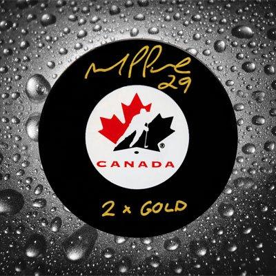 Gold Autographed Puck (Marie-Philip Poulin Team Canada 2x GOLD Autographed Puck)