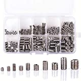 COOLOGIN 300PCS Stainless Steel Allen Head Socket Hex Grub Screw Set Assortment Kit M3-M8 with Plastic Box