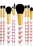Makeup Brush Set (SUPER SALE) - 9pcs Professional Cosmetic Brushes Kit for Contour, Highlight, Powder, Eyeshadow, Concealer, Crease, Blending, Bronzer and Brow Make Up. Vegan Pink Brushes.