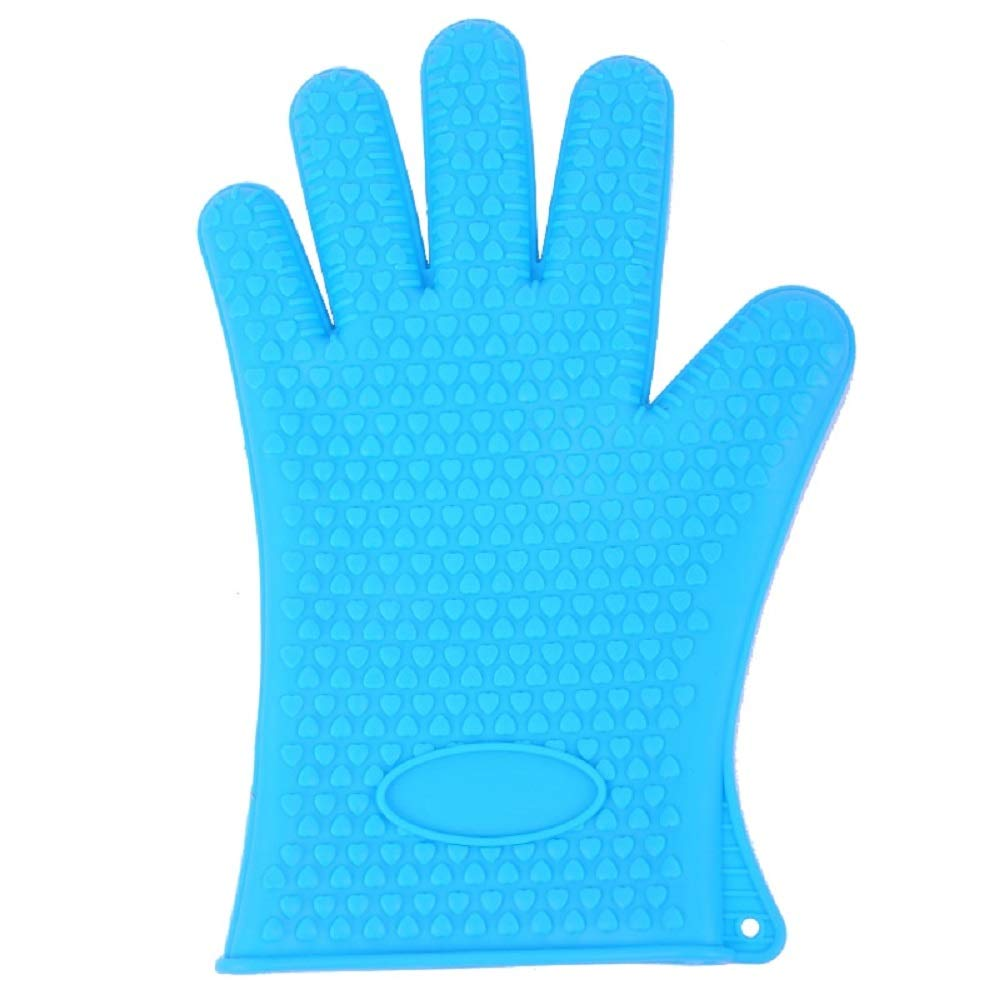LVH Oven Mitts New Silicone Oven Glove Thick Cooking BBQ Grill Glove Oven Mitt Baking Glove Kitchen Barbecue Glove Kitchen Gadgets (Blue)