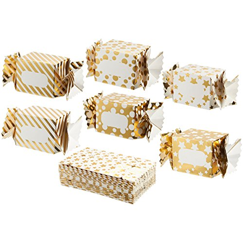 36-Pack Paper Treat Boxes - Gable Favor Boxes, Fun Party Play Goodie Boxes, 3 Dozen Bright Golden Birthday Party, Shower Loot Gift Boxes, 6 Designs, White and Gold, 2.7 x 2.7 x 3 Inches