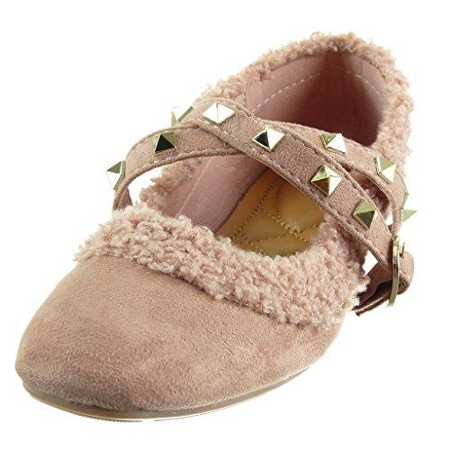 Angkorly - damen Schuhe Ballerina - Slip-On - Nieten - besetzt - String Tanga - Pelz Blockabsatz 1 CM Rosa