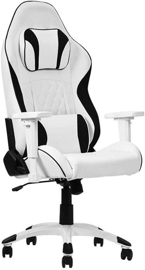 ZXWCYJ Gaming Chair, Ergonomic High Backrest and Seat Height Adjustment Recliner Swivel Rocker, with Headrest and Lumbar Support, 250Kg Weight Limit,White