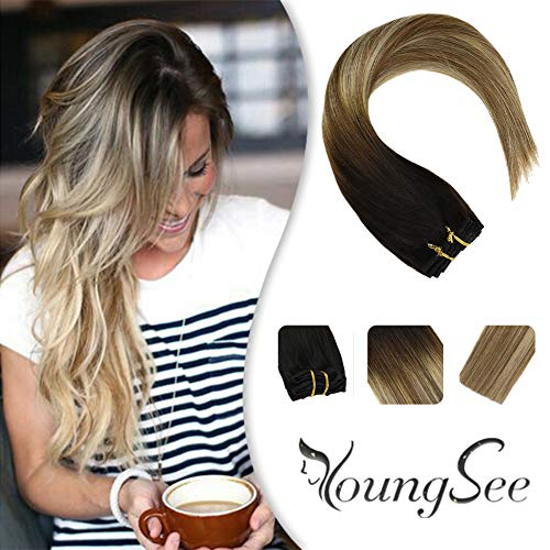YoungSee 14inch Clip in Extensions Remy Hair Balayage Darkest Brown Fading to Medium Brown with Blonde Remy Human Hair Extensions Seamless Clip in Hair Extensions 120g/7pcs