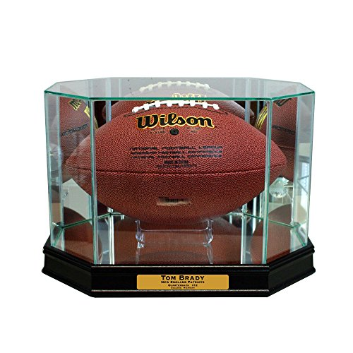 Perfect Cases Octagon Football Display Case (Black with Engraving)