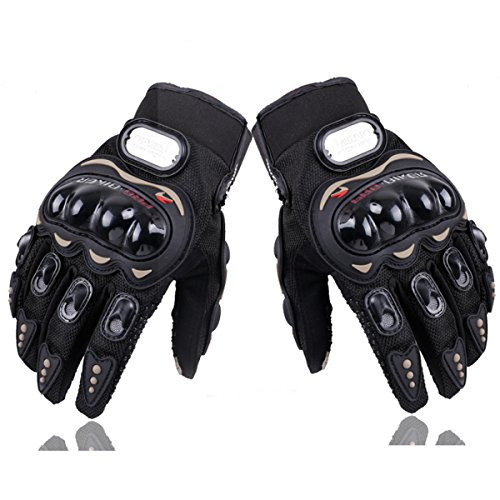 Powersports Racing Gloves, LENMUMU Full Finger Hard Knuckle Carbon Fiber Pro-Biker Bicycle Motorcycle Motorbike Outdoor Gloves (M, Black)