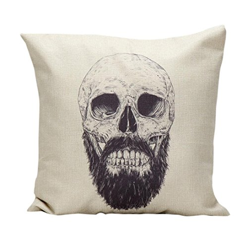 XILALU Halloween Decoration Skull Pillow Case Sofa Waist Throw Cushion Cover Home Decor (E) (Large Outdoor Halloween Decorations)