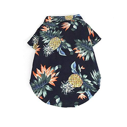 Tutuba Pet Small Dog Hawaiian Polo Shirt, Summer Printed Pineapple Short Sleeve Beach T-Shirt Vest Apparel Costumes