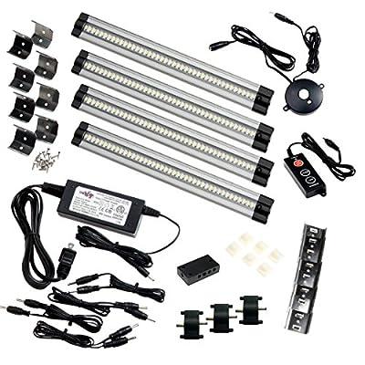 "Ultimate Under Cabinet LED Light Kit - 4-12"" light bars,120AC/12VDC transformer, PIR Motion Control, Dimmer, Connectors"
