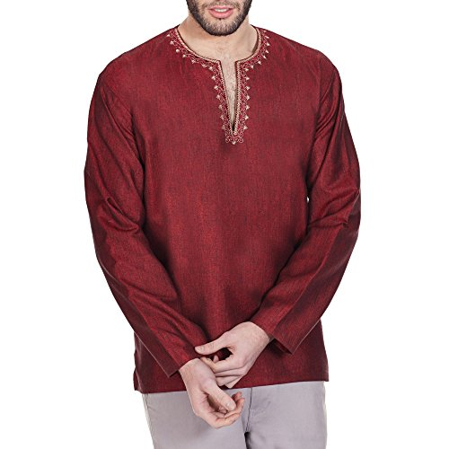 [Indian Costume Men Shirt Embroidered Kurta Relax Fit Airy Comfortable 44 Inches] (Indian Man Costume)