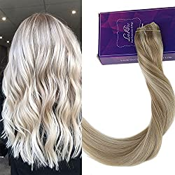 """LaaVoo 20"""" 100% Real Hair Extensions Clip in Remy Human Hair 80g One-piece 5 Clips Long Straight Hair Extensions for Women Wide Weft Soft Silky Ash Brown #18 Mixed Bleach Blonde #60"""