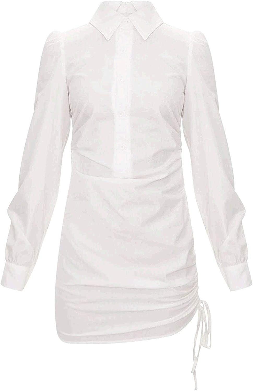 Yi Sha Lei Man Women's Button Down Shirt Dress Long Sleeve Blouse Drawstring