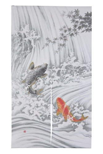 Made in Japan Noren Curtain Tapestry Carp Swimming Up a Waterfall