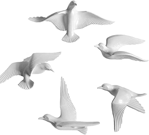 MOCOHANA 5 Pack Seagull Wall Decor Resin Flying Bird Sculptures 3D Wall Art Ornament Coastal Decorations Hanging