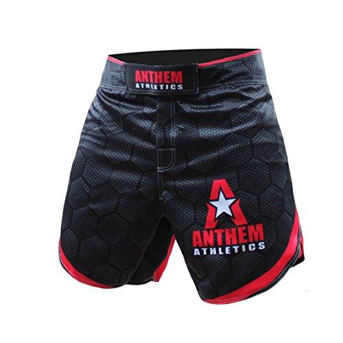 iance Kickboxing Short MMA Shorts - Muay Thai, BJJ, WOD, Cross-Training, OCR - Black Hex with Red - 36